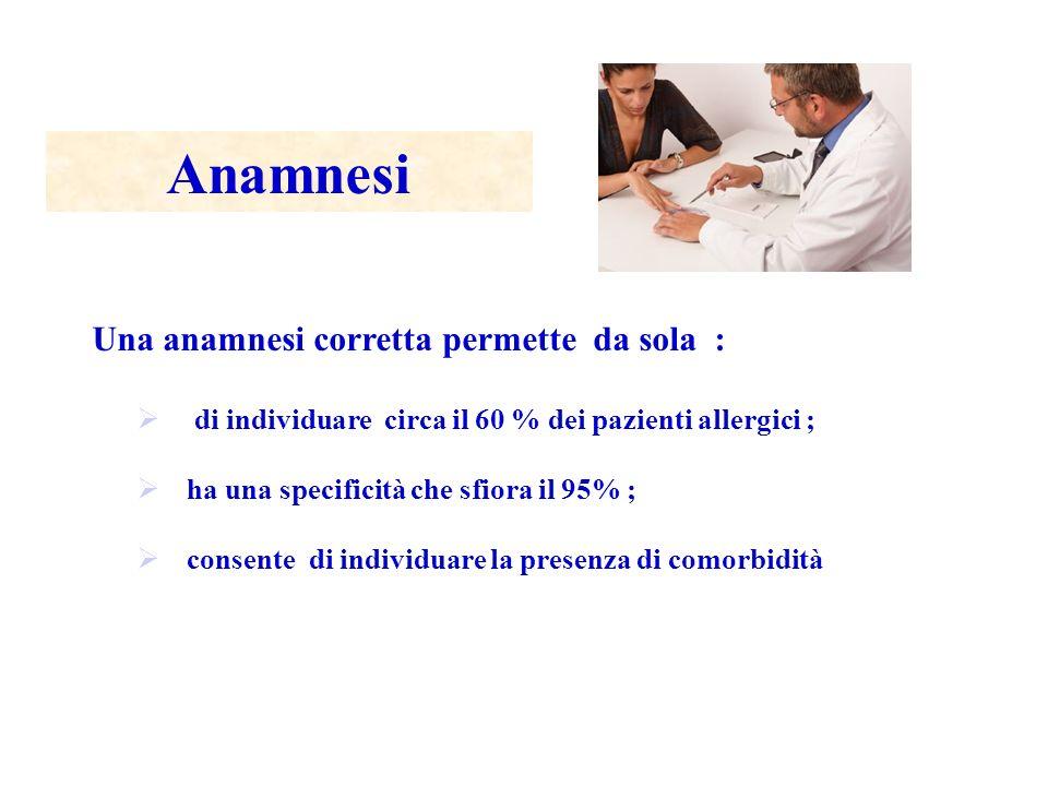 Anamnesi Una anamnesi corretta permette da sola : di individuare circa il 60 % dei pazienti allergici ; ha una specificità che sfiora il 95% ; consent