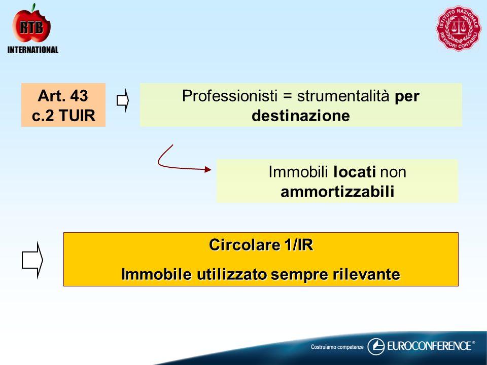 Art. 43 c.2 TUIR Professionisti = strumentalità per destinazione Immobili locati non ammortizzabili Circolare 1/IR Immobile utilizzato sempre rilevant
