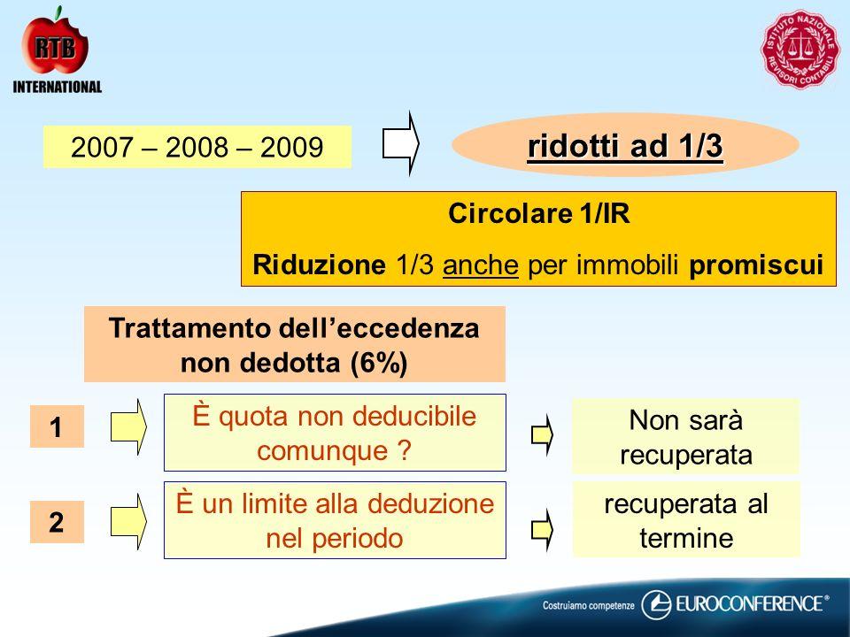 ridotti ad 1/3 2007 – 2008 – 2009 Trattamento delleccedenza non dedotta (6%) È quota non deducibile comunque ? 1 Non sarà recuperata È un limite alla