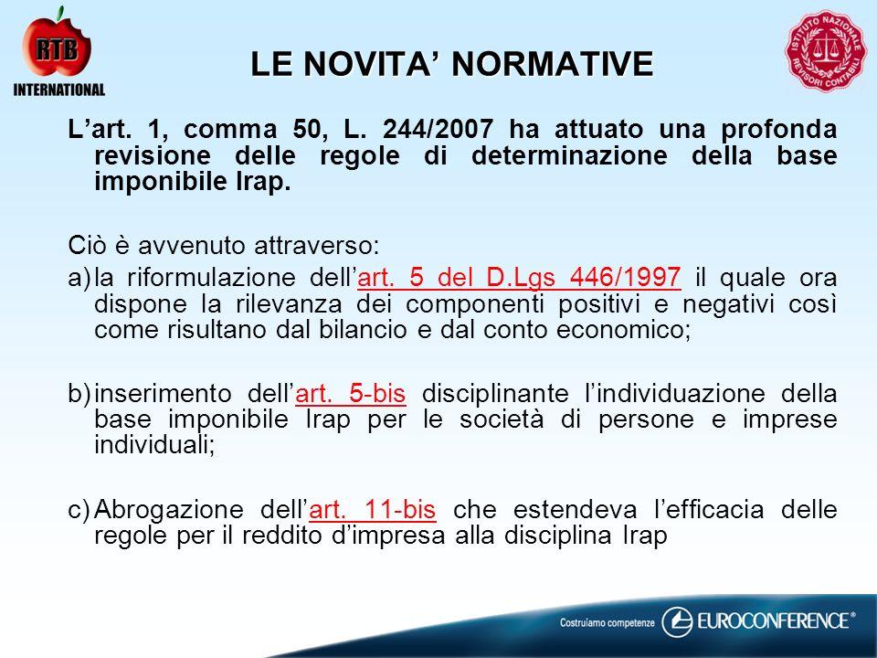 LE NOVITA NORMATIVE Lart. 1, comma 50, L. 244/2007 ha attuato una profonda revisione delle regole di determinazione della base imponibile Irap. Ciò è