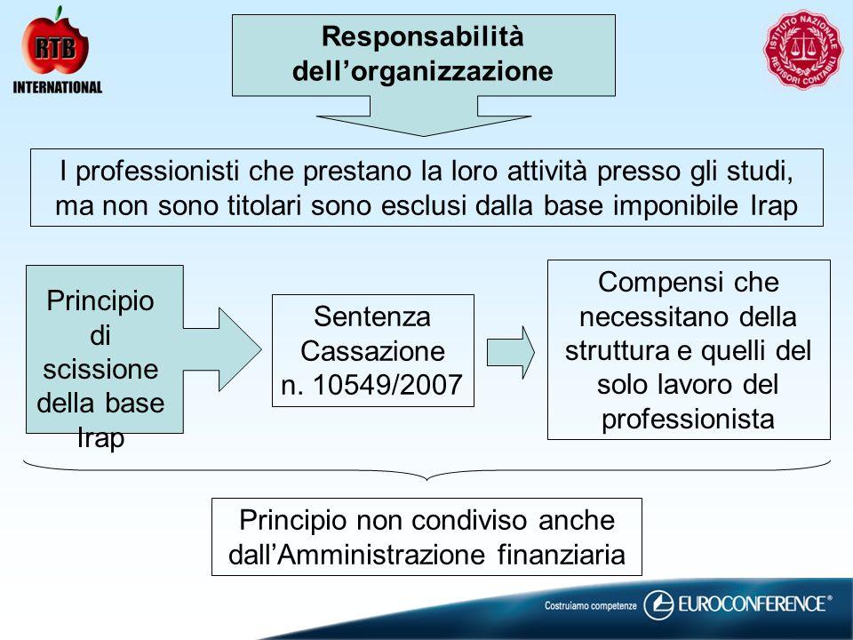 Responsabilità dellorganizzazione I professionisti che prestano la loro attività presso gli studi, ma non sono titolari sono esclusi dalla base imponibile Irap Principio di scissione della base Irap Sentenza Cassazione n.