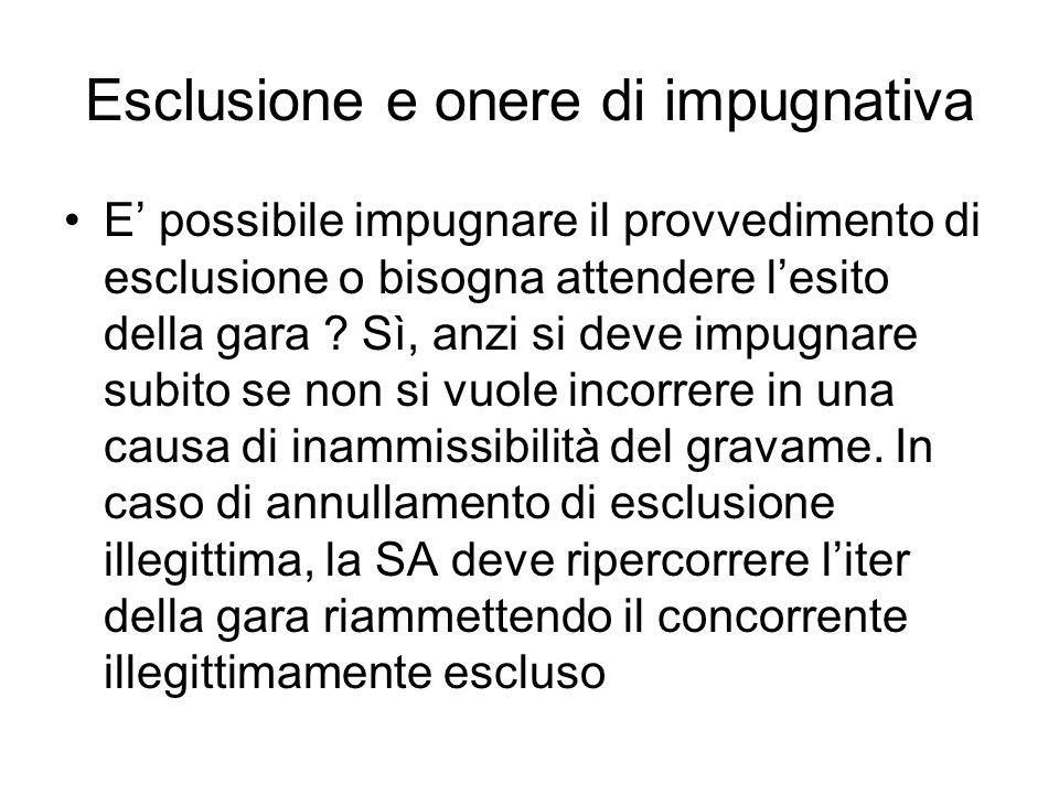Esclusione e onere di impugnativa E possibile impugnare il provvedimento di esclusione o bisogna attendere lesito della gara ? Sì, anzi si deve impugn