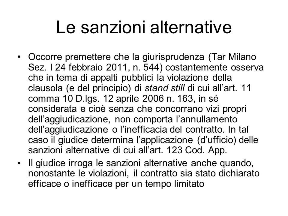Le sanzioni alternative Occorre premettere che la giurisprudenza (Tar Milano Sez. I 24 febbraio 2011, n. 544) costantemente osserva che in tema di app