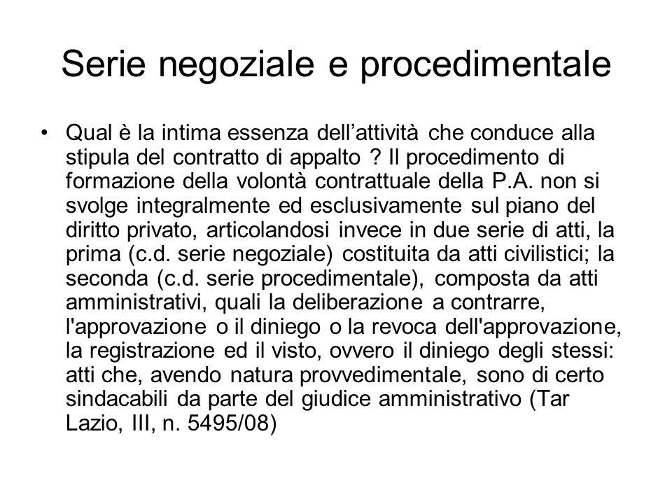 Serie negoziale e procedimentale Qual è la intima essenza dellattività che conduce alla stipula del contratto di appalto ? Il procedimento di formazio