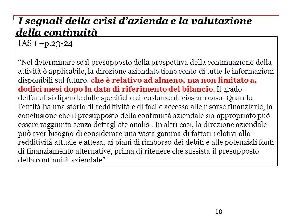 I segnali della crisi dazienda e la valutazione della continuità IAS 1 –p.23-24 Nel determinare se il presupposto della prospettiva della continuazion
