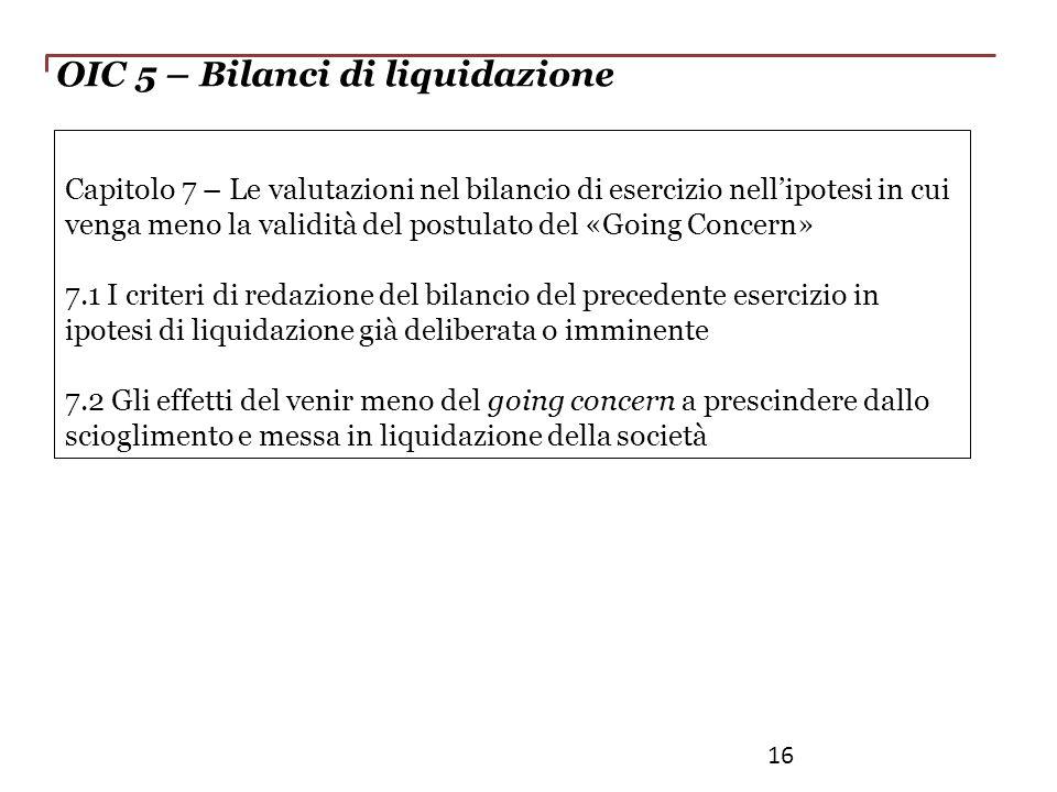 OIC 5 – Bilanci di liquidazione Capitolo 7 – Le valutazioni nel bilancio di esercizio nellipotesi in cui venga meno la validità del postulato del «Goi