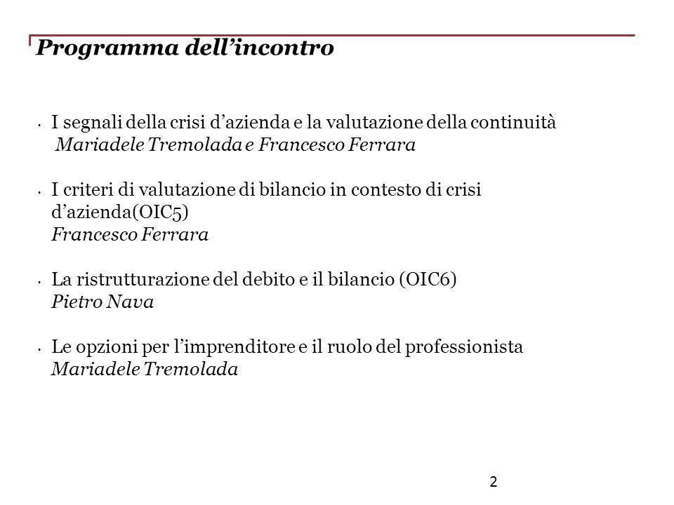 Programma dellincontro I segnali della crisi dazienda e la valutazione della continuità Mariadele Tremolada e Francesco Ferrara I criteri di valutazio