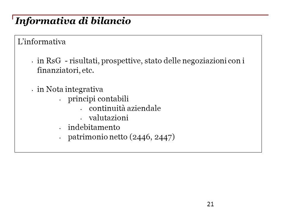 Linformativa in RsG - risultati, prospettive, stato delle negoziazioni con i finanziatori, etc. in Nota integrativa principi contabili continuità azie