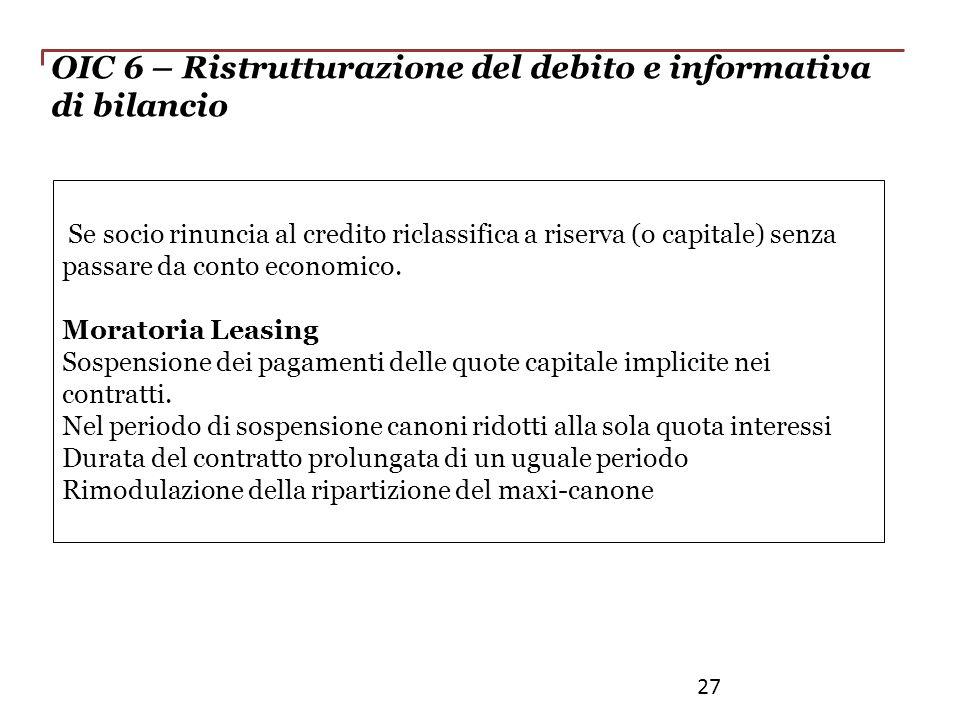 OIC 6 – Ristrutturazione del debito e informativa di bilancio Se socio rinuncia al credito riclassifica a riserva (o capitale) senza passare da conto