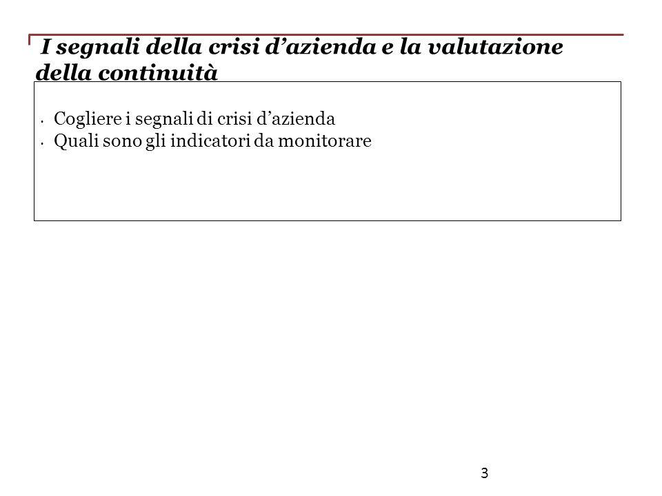 I segnali della crisi dazienda e la valutazione della continuità Cogliere i segnali di crisi dazienda Quali sono gli indicatori da monitorare 3