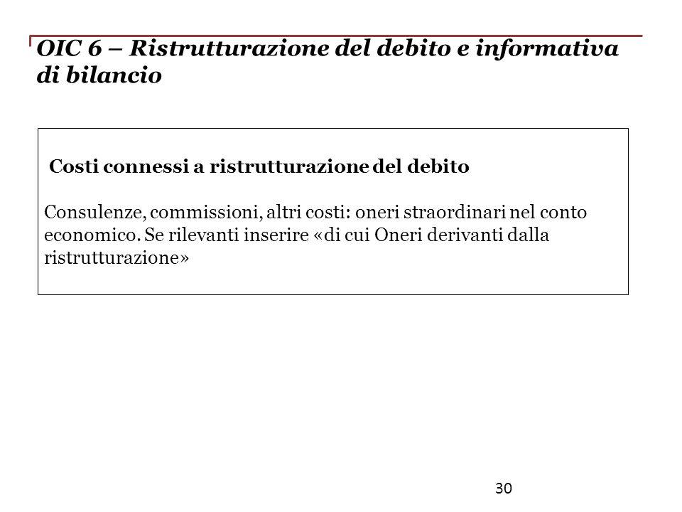 OIC 6 – Ristrutturazione del debito e informativa di bilancio Costi connessi a ristrutturazione del debito Consulenze, commissioni, altri costi: oneri