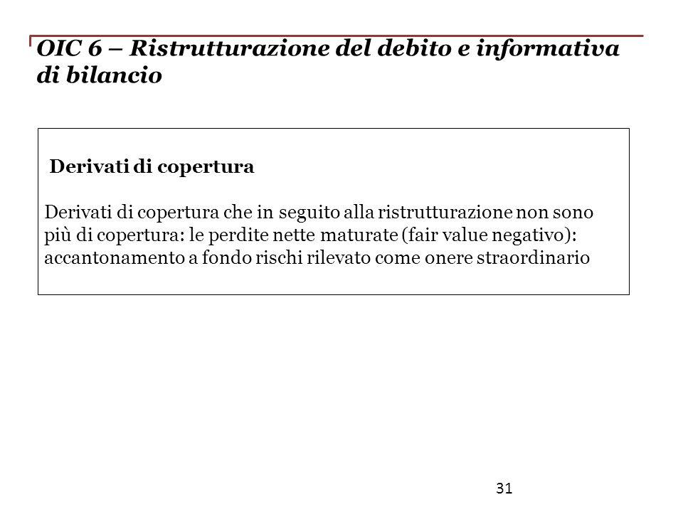 OIC 6 – Ristrutturazione del debito e informativa di bilancio Derivati di copertura Derivati di copertura che in seguito alla ristrutturazione non son