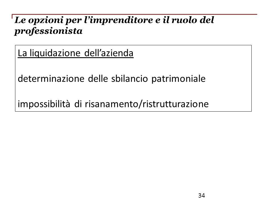 La liquidazione dellazienda determinazione delle sbilancio patrimoniale impossibilità di risanamento/ristrutturazione 34 Le opzioni per limprenditore