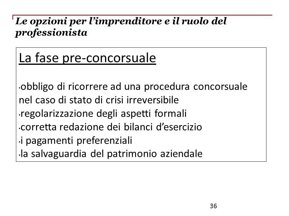 La fase pre-concorsuale obbligo di ricorrere ad una procedura concorsuale nel caso di stato di crisi irreversibile regolarizzazione degli aspetti form