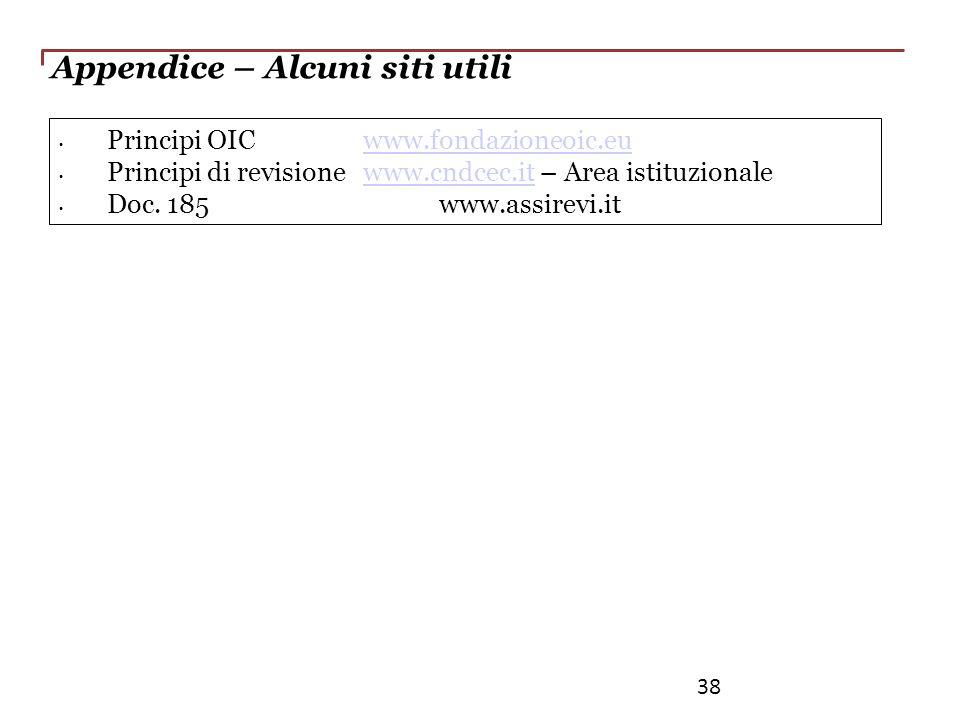 Appendice – Alcuni siti utili Principi OIC www.fondazioneoic.euwww.fondazioneoic.eu Principi di revisione www.cndcec.it – Area istituzionalewww.cndcec