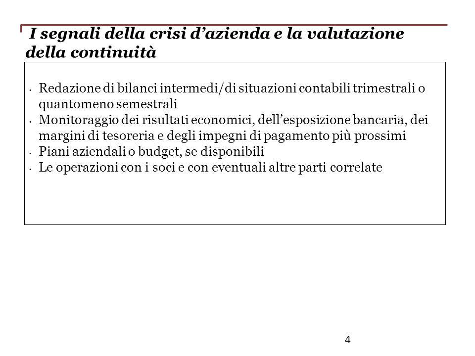 I segnali della crisi dazienda e la valutazione della continuità Redazione di bilanci intermedi/di situazioni contabili trimestrali o quantomeno semes