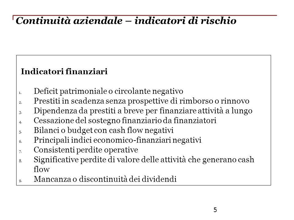 Continuità aziendale – indicatori di rischio Indicatori finanziari 1. Deficit patrimoniale o circolante negativo 2. Prestiti in scadenza senza prospet