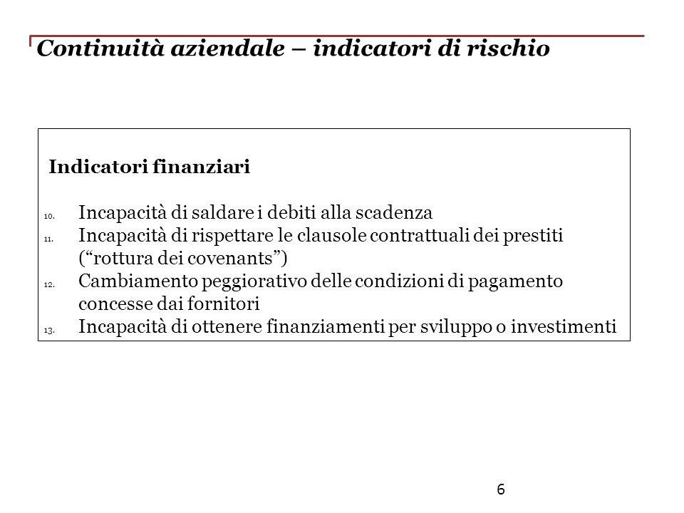 Continuità aziendale – indicatori di rischio Indicatori finanziari 10. Incapacità di saldare i debiti alla scadenza 11. Incapacità di rispettare le cl