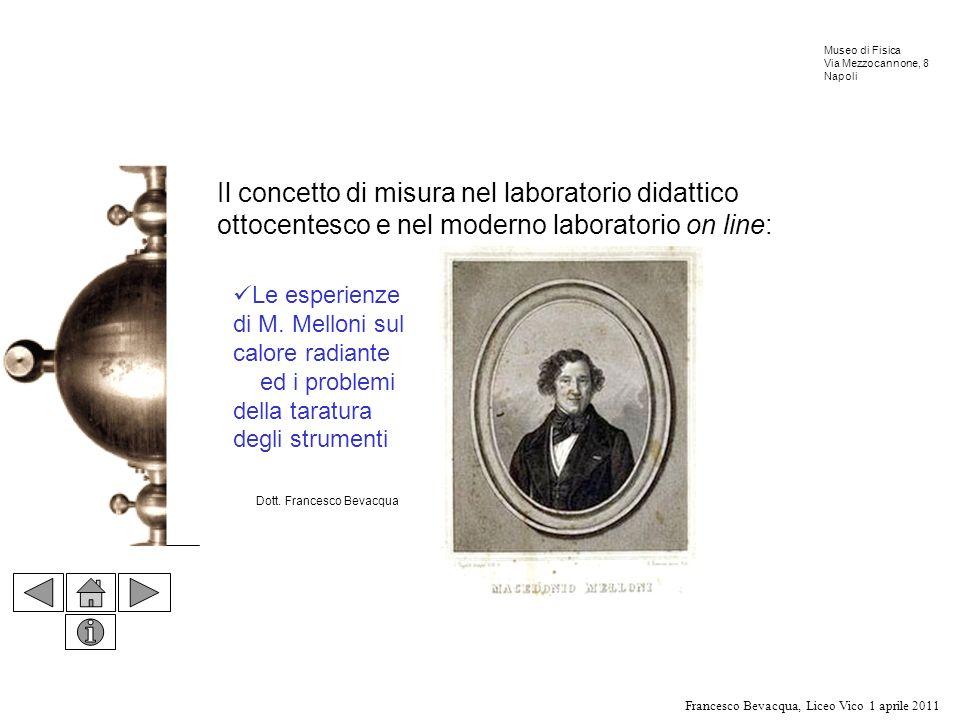 Francesco Bevacqua, Liceo Vico 1 aprile 2011 Museo di Fisica Via Mezzocannone, 8 Napoli Il concetto di misura nel laboratorio didattico ottocentesco e