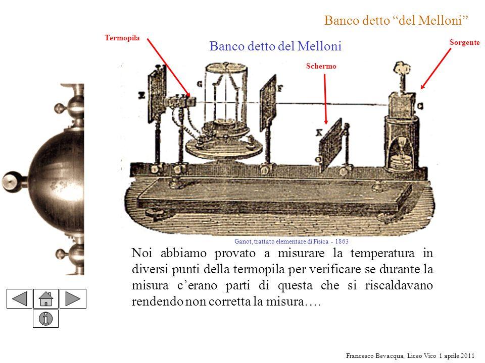 Francesco Bevacqua, Liceo Vico 1 aprile 2011 Banco detto del Melloni Noi abbiamo provato a misurare la temperatura in diversi punti della termopila pe