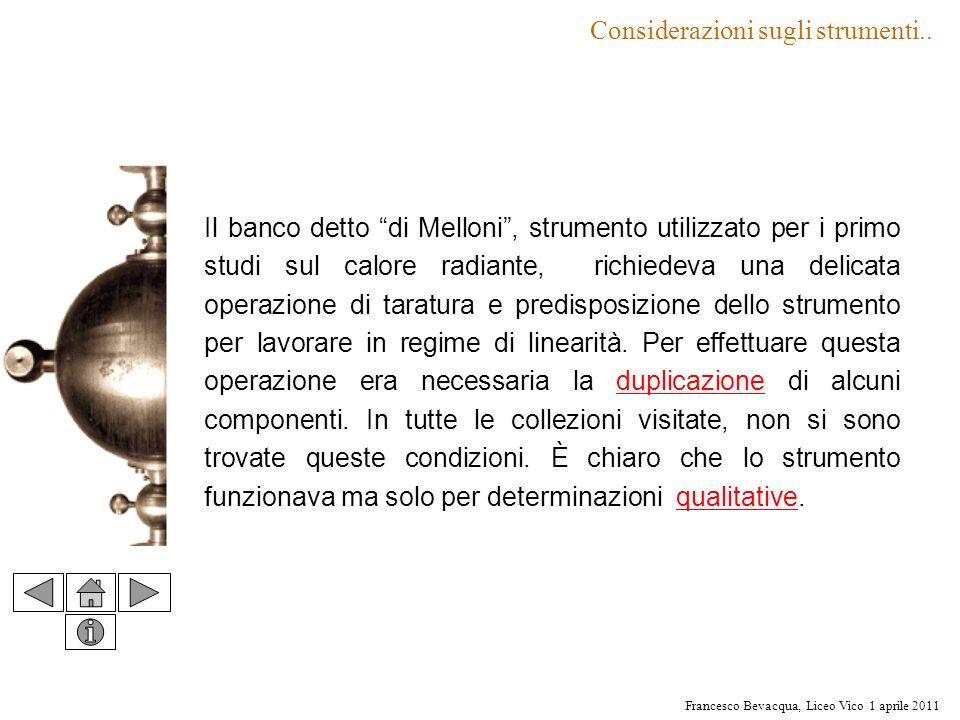 Francesco Bevacqua, Liceo Vico 1 aprile 2011 Il banco detto di Melloni, strumento utilizzato per i primo studi sul calore radiante, richiedeva una del