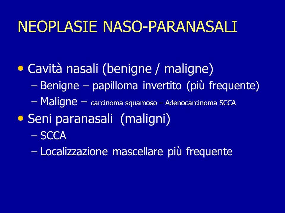 Fossa Pterigopalatina Coinvolgimento 10-20% dei casi Coinvolgimento 10-20% dei casi Som - PTPF invasione = lesione non resecabile Som - PTPF invasione = lesione non resecabile Resezione Craniofacciale (MCF) Resezione Craniofacciale (MCF) RT Postoperatoria RT Postoperatoria