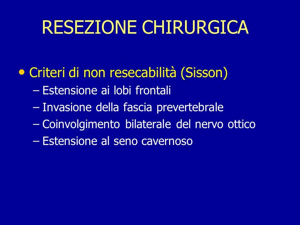 RESEZIONE CHIRURGICA Criteri di non resecabilità (Sisson) – –Estensione ai lobi frontali – –Invasione della fascia prevertebrale – –Coinvolgimento bil