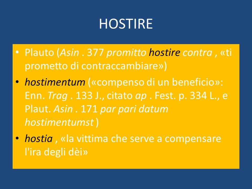 HOSTIRE Plauto (Asin. 377 promitto hostire contra, «ti prometto di contraccambiare») hostimentum («compenso di un beneficio»: Enn. Trag. 133 J., citat