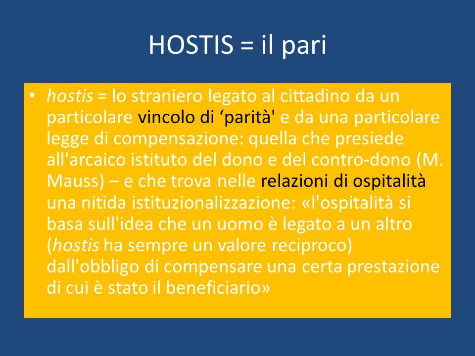 HOSTIS = il pari hostis = lo straniero legato al cittadino da un particolare vincolo di parità' e da una particolare legge di compensazione: quella ch