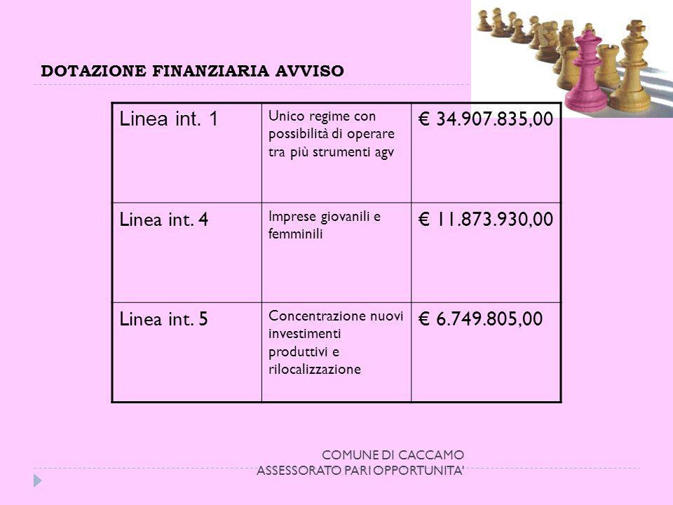 DOTAZIONE FINANZIARIA AVVISO COMUNE DI CACCAMO ASSESSORATO PARI OPPORTUNITA Linea int.