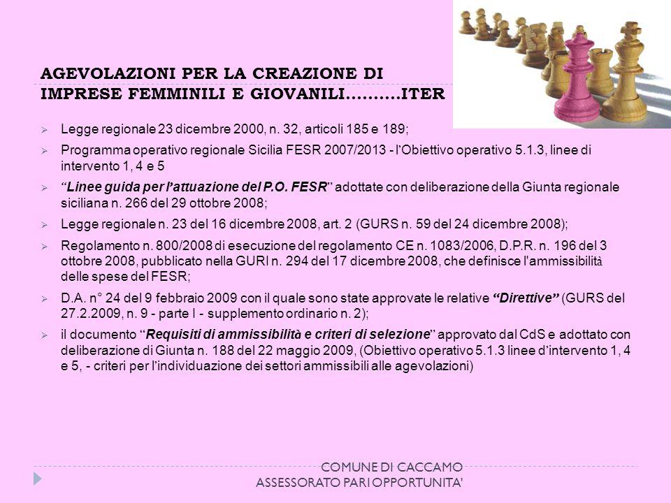 AGEVOLAZIONI PER LA CREAZIONE DI IMPRESE FEMMINILI E GIOVANILI……….ITER Legge regionale 23 dicembre 2000, n.