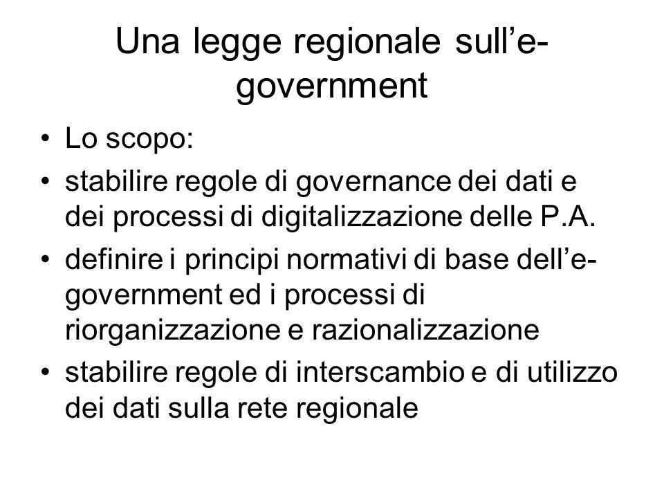 Una legge regionale sulle- government Lo scopo: stabilire regole di governance dei dati e dei processi di digitalizzazione delle P.A.
