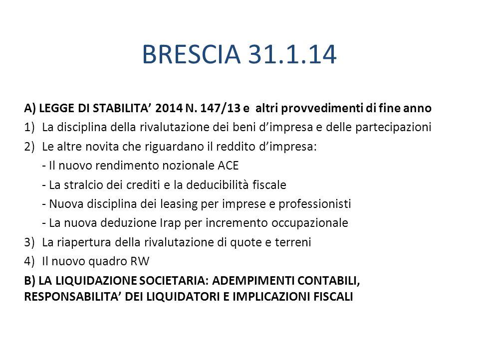 BRESCIA 31.1.14 A) LEGGE DI STABILITA 2014 N.