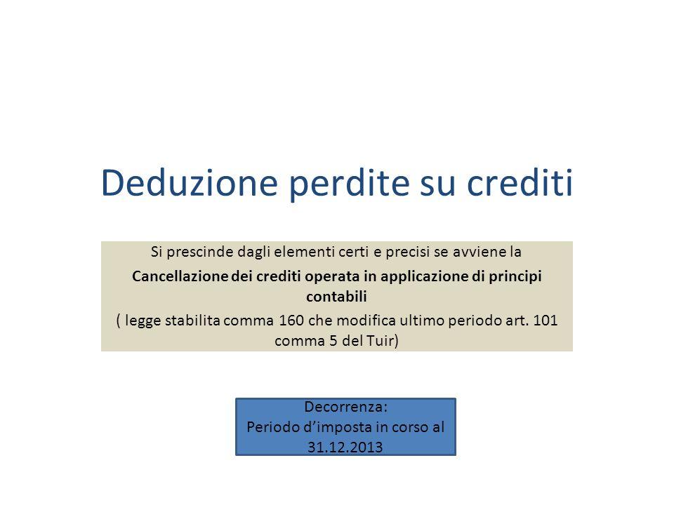 Deduzione perdite su crediti Si prescinde dagli elementi certi e precisi se avviene la Cancellazione dei crediti operata in applicazione di principi contabili ( legge stabilita comma 160 che modifica ultimo periodo art.