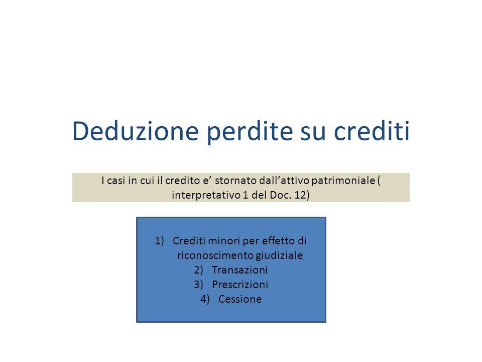 Deduzione perdite su crediti I casi in cui il credito e stornato dallattivo patrimoniale ( interpretativo 1 del Doc.