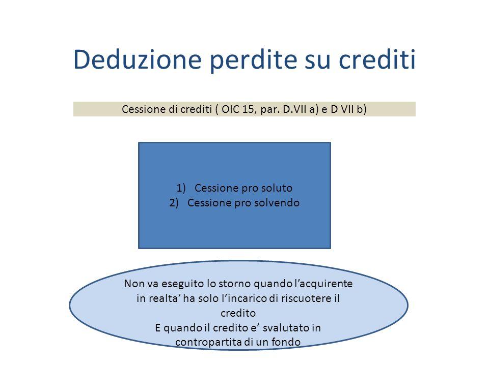 Deduzione perdite su crediti Cessione di crediti ( OIC 15, par.