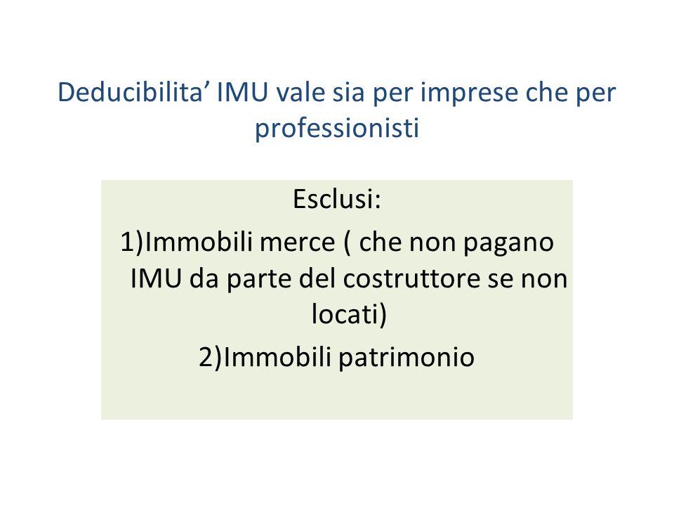 Deducibilita IMU vale sia per imprese che per professionisti Esclusi: 1)Immobili merce ( che non pagano IMU da parte del costruttore se non locati) 2)Immobili patrimonio
