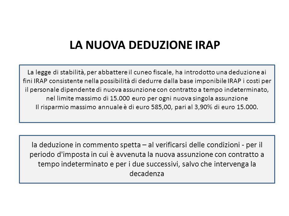 LA NUOVA DEDUZIONE IRAP La legge di stabilità, per abbattere il cuneo fiscale, ha introdotto una deduzione ai fini IRAP consistente nella possibilità di dedurre dalla base imponibile IRAP i costi per il personale dipendente di nuova assunzione con contratto a tempo indeterminato, nel limite massimo di 15.000 euro per ogni nuova singola assunzione Il risparmio massimo annuale è di euro 585,00, pari al 3,90% di euro 15.000.