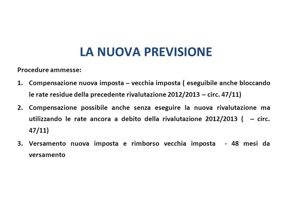 LA NUOVA PREVISIONE Procedure ammesse: 1.Compensazione nuova imposta – vecchia imposta ( eseguibile anche bloccando le rate residue della precedente rivalutazione 2012/2013 – circ.