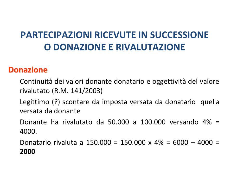 PARTECIPAZIONI RICEVUTE IN SUCCESSIONE O DONAZIONE E RIVALUTAZIONE Donazione Continuità dei valori donante donatario e oggettività del valore rivalutato (R.M.