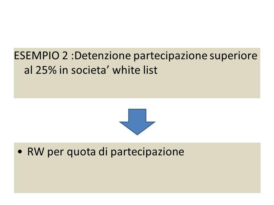 Esempio 2 : partecipazione 26% societa white list ESEMPIO 2 :Detenzione partecipazione superiore al 25% in societa white list RW per quota di partecipazione