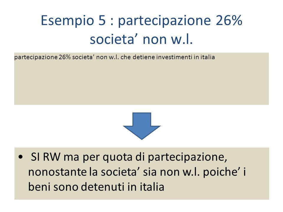 Esempio 5 : partecipazione 26% societa non w.l.partecipazione 26% societa non w.l.