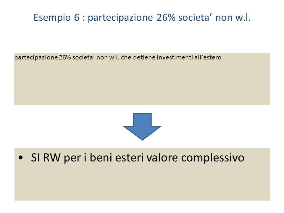 Esempio 6 : partecipazione 26% societa non w.l.partecipazione 26% societa non w.l.