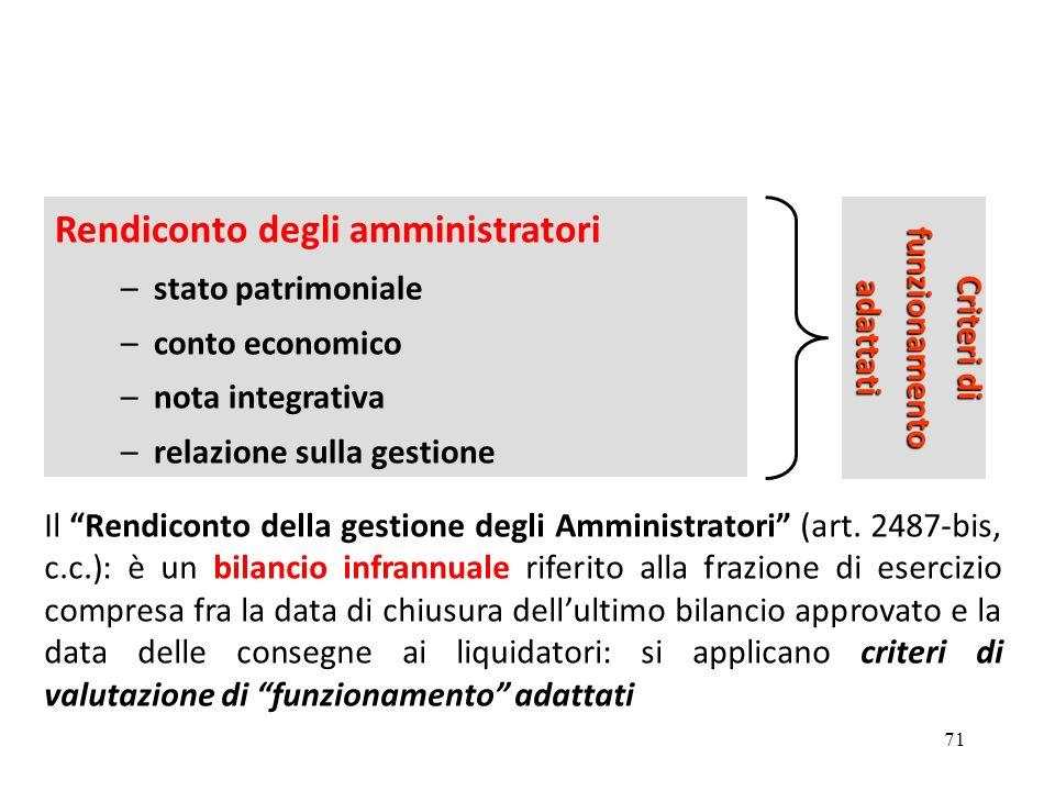 71 Rendiconto degli amministratori –stato patrimoniale –conto economico –nota integrativa –relazione sulla gestione Criteri di funzionamentoadattati Il Rendiconto della gestione degli Amministratori (art.