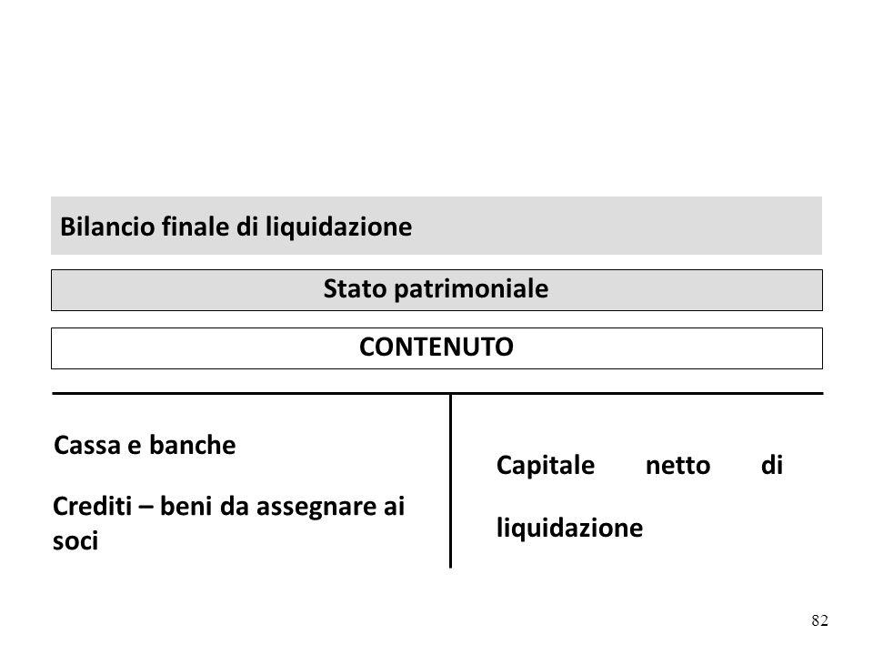 82 Bilancio finale di liquidazione CONTENUTO Stato patrimoniale Cassa e banche Capitale netto di liquidazione Crediti – beni da assegnare ai soci argomento