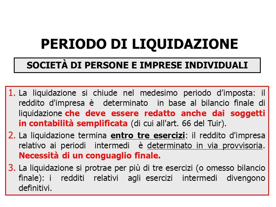 PERIODO DI LIQUIDAZIONE SOCIETÀ DI PERSONE E IMPRESE INDIVIDUALI 1.