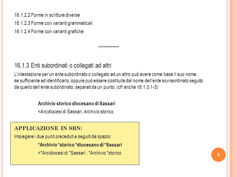 15 16.4 Rinvii e richiami 16.4.1 Rinvii [vedi] Rimandano ad altra intestazione uniforme.