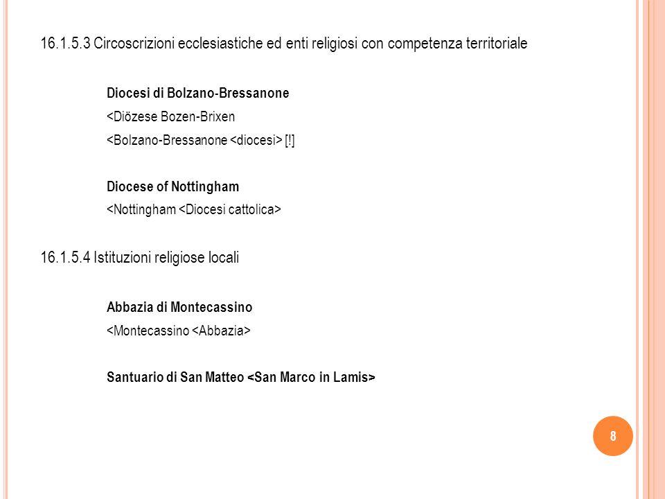 9 16.1.5.5.Enti religiosi subordinati e organi di enti religiosi 16.1.5.5 A.