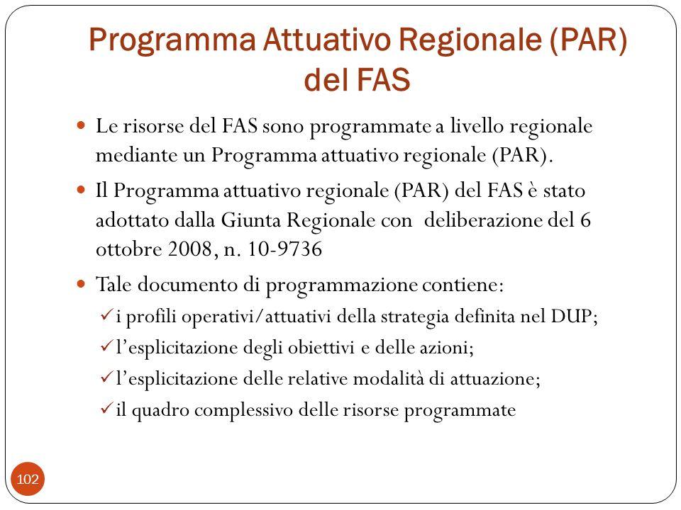 Programma Attuativo Regionale (PAR) del FAS Le risorse del FAS sono programmate a livello regionale mediante un Programma attuativo regionale (PAR).