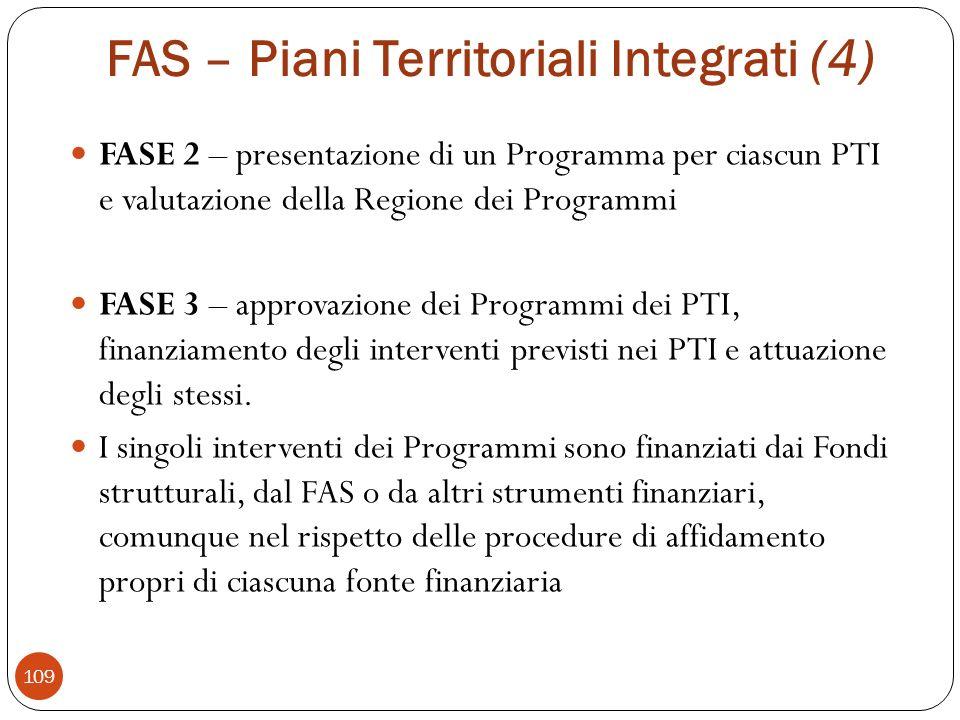 FAS – Piani Territoriali Integrati (4) FASE 2 – presentazione di un Programma per ciascun PTI e valutazione della Regione dei Programmi FASE 3 – approvazione dei Programmi dei PTI, finanziamento degli interventi previsti nei PTI e attuazione degli stessi.